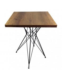 Cafe Masası Tel Ayak Cafe Masa Koyu Kahverengi