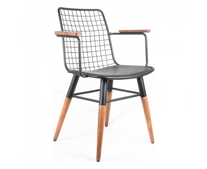 Kollu Tel Sandalye Mutfak Sandalyesi Balkon Sandalyesi Ahşap Ayak