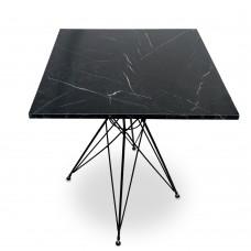 Cafe Masası Mermer Desen Siyah Line